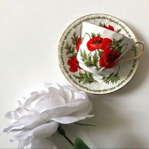 Other - Vintage Poppy Teacup & Saucer by Royal Kendal